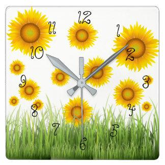Bright Beautiful and Elegant Sunflower Square Wall Clock