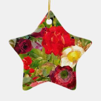 Bright Beautiful Flower Collage Ceramic Ornament