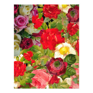 Bright Beautiful Flower Collage Personalized Letterhead
