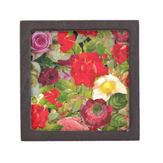 Bright Beautiful Flower Collage Premium Trinket Boxes