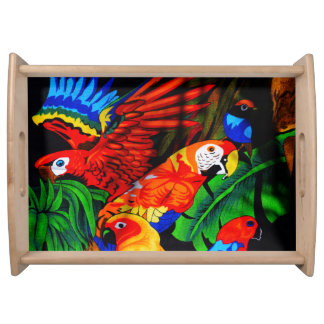 Bright Beautiful Parrots Food Tray