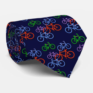 Bright Bicycles on Navy Blue Pattern Double Tie