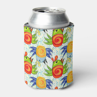 Bright bird doodle design, girly gift ideas. can cooler