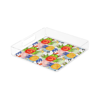 Bright bird doodle design serving tray