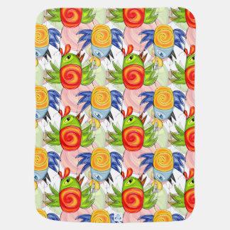 Bright birds doodle design stroller blanket