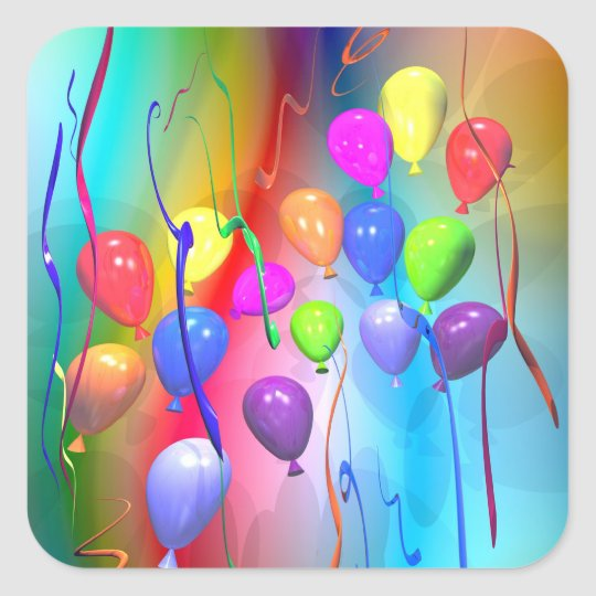 Bright Birthday Balloons Square Sticker