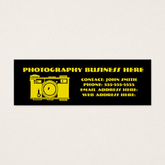 Bright Black & Yellow Retro Film Camera Mini Business Card