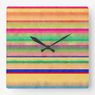 Bright Bleeding Watercolor Stripes wall clock