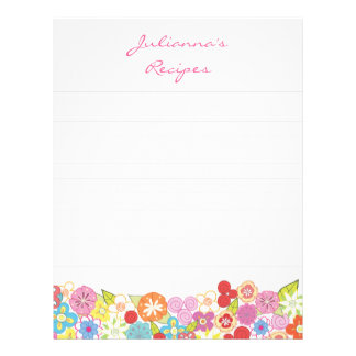 Bright Blossoms Recipe Binder Insert Letter Pages Letterhead