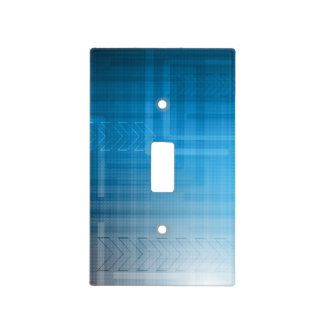 Bright Blue Abstract Tech Print Light Switch Cover