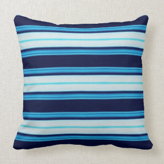 Bright Blue and Aqua Striped Nautical inspired T Throw Pillow