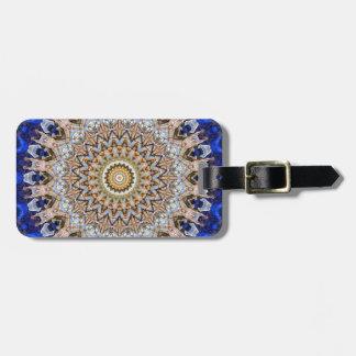Bright Blue and Brown Mandala Luggage Tag