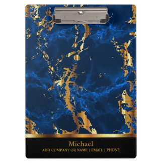 Bright Blue  and Gold Marble Pattern Design Clipboards