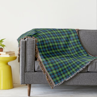 Bright Blue and Green Clan Watson Scottish Plaid Throw Blanket