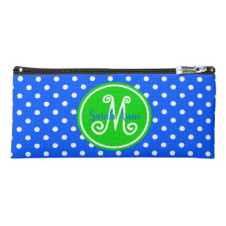 Bright Blue and Green Polka Dot Monogram Pencil Case