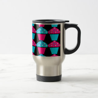 Bright Blue and Hot Pink Cupcake Pattern Stainless Steel Travel Mug