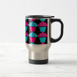Bright Blue and Hot Pink Cupcake Pattern Travel Mug