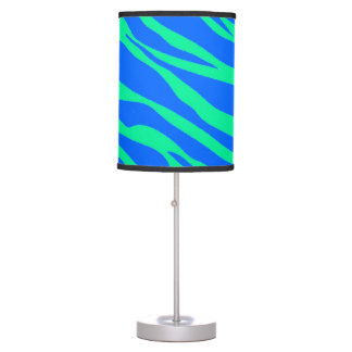 Bright Blue and Neon Green Zebra Striped Table Lamp