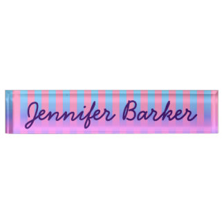Bright Blue and Pink Funky Stripes Nameplate