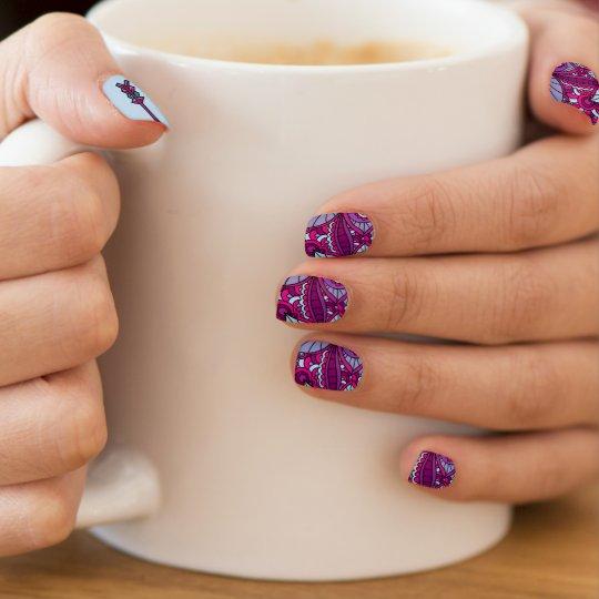 Bright Blue and Purple Boho Fingernail Decal