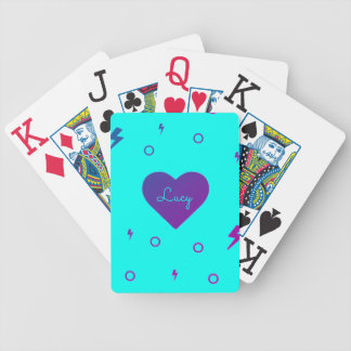 Bright Blue and Purple Heart Name Playing Cards