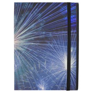 Bright Blue and White Fireworks