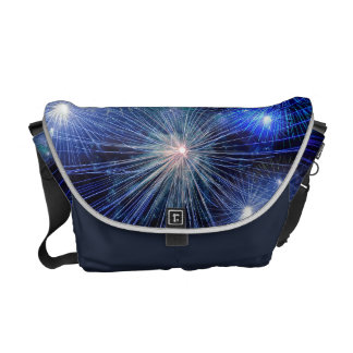 Bright Blue and White Fireworks Courier Bags