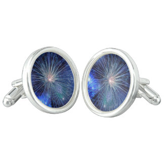 Bright Blue and White Fireworks Cufflinks