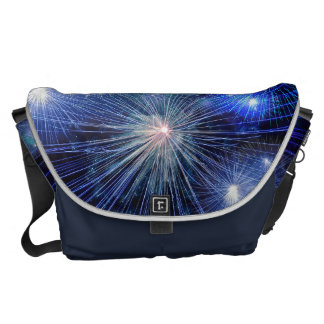 Bright Blue and White Fireworks Messenger Bags