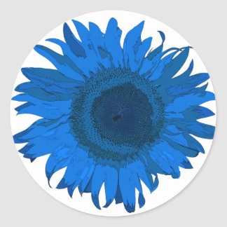 Bright Blue and White Pop Art Sunflower Sticker
