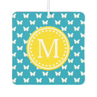 Bright Blue and Yellow Butterfly Monogram Car Air Freshener