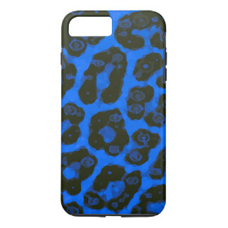 Bright Blue Black Painted Cheetah iPhone 7 Plus Case