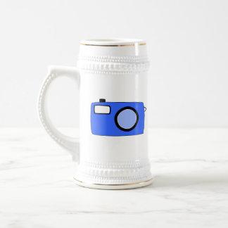 Bright Blue Camera. On White. Beer Stein