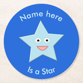 Bright Blue Celebration Star Custom Paper Coasters