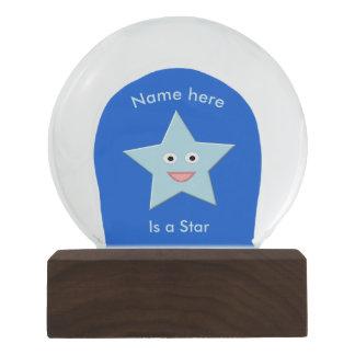 Bright Blue Celebration Star Custom Snowglobe