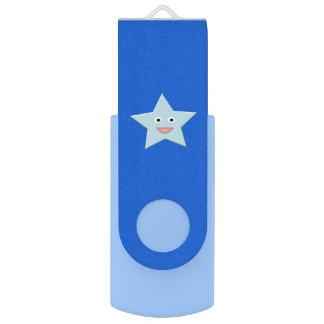 Bright Blue Celebration Star Custom USB Drive