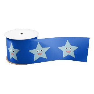 Bright Blue Celebration Star Ribbon Satin Ribbon