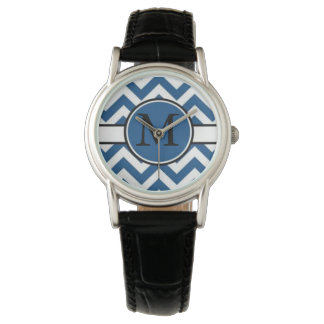 Bright Blue Chevron Monogram Watches