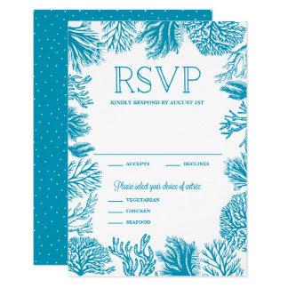 Bright Blue Corals Frame Nautical Wedding RSVP Card