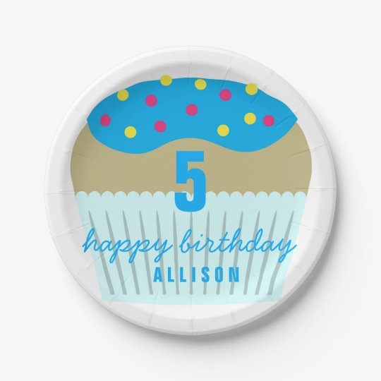 Bright Blue Cupcake 5th Birthday Party Plates 7 Inch Paper Plate