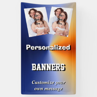 Bright blue custom photo template banner