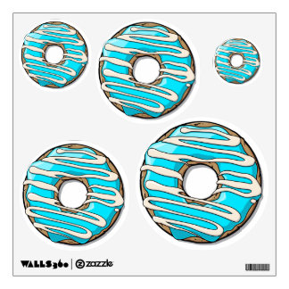 Bright Blue Donut with Icing Wall Decal
