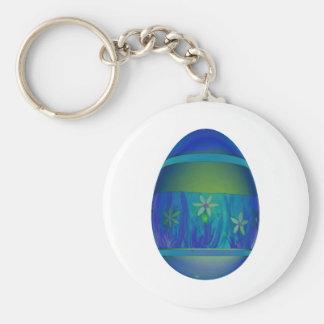 Bright Blue Egg Basic Round Button Keychain