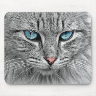 Bright Blue Eyes | Monochrome | Cat Portrait Mouse Pad