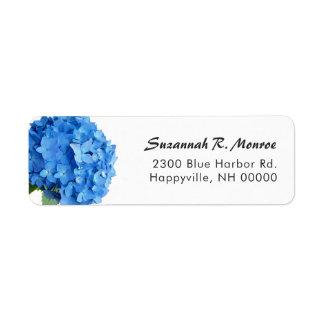 Bright Blue Floral Hydrangea White Return Address Return Address Label
