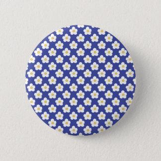 Bright Blue Floral Pattern 2 Inch Round Button