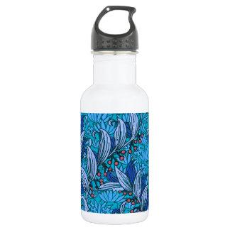 Bright Blue Floral Pattern 532 Ml Water Bottle