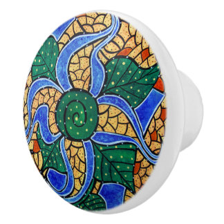 Bright Blue Flower Ceramic Knob
