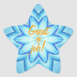 Bright Blue Flower Petals Orange Great Job Sticker
