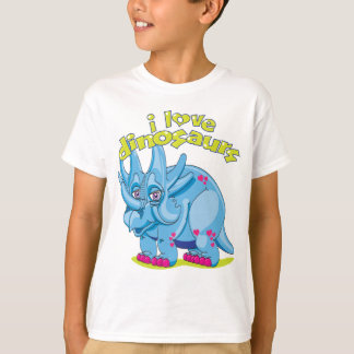 Bright blue friendly Triceratops with pink hearts T-Shirt
